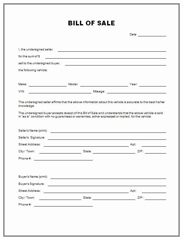 Bill Of Sale Printable Template Best Of Free Printable Free Car Bill Of Sale Template form Generic