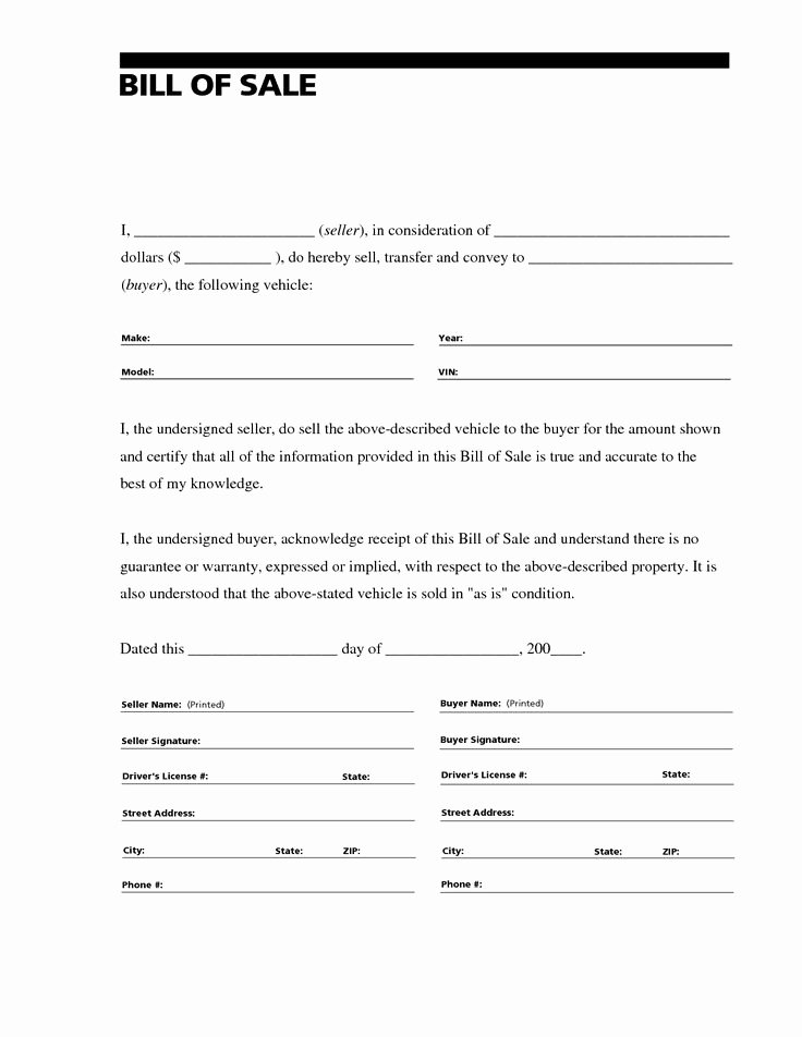Bill Of Sale Printable Template Best Of Printable Sample Bill Of Sale for Rv form