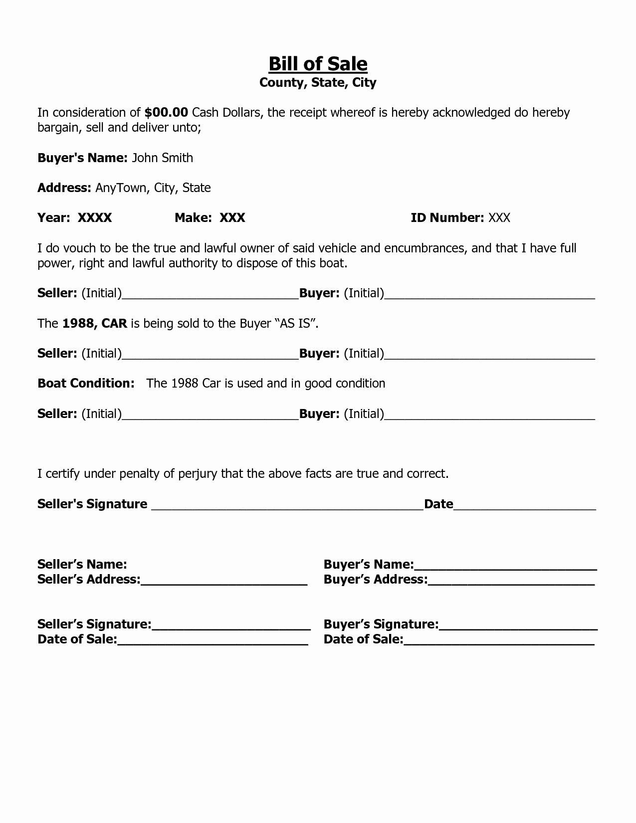 Bill Of Sale Printable Template New Free Printable Free Car Bill Of Sale Template form Generic