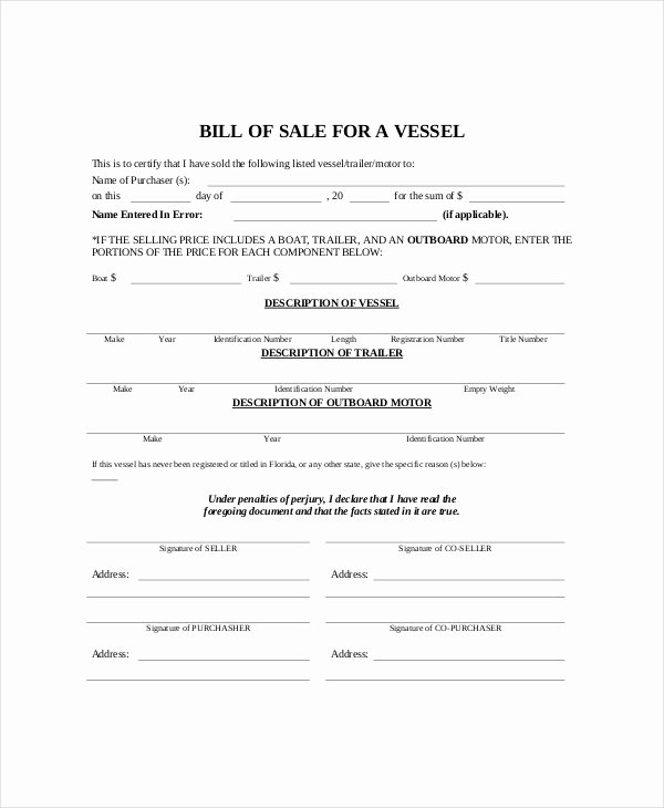 Bill Of Sale Template Boat Best Of Bill Sale Template 8 Free Word Pdf Documents