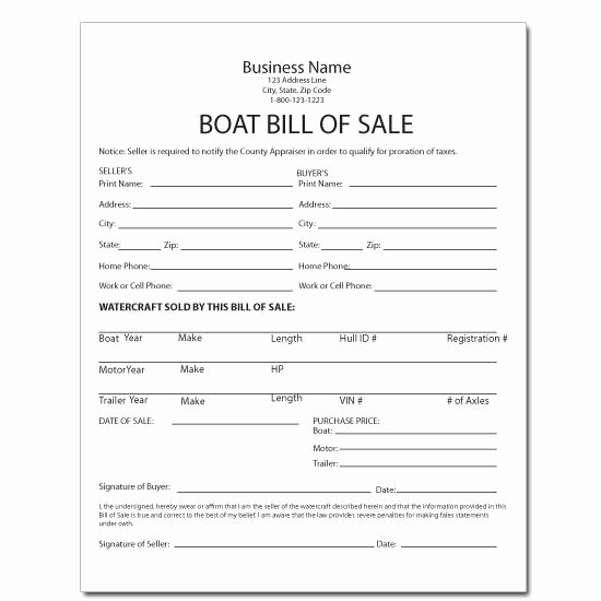 Bill Of Sale Template Boat Elegant Equipment forms & Template Printing