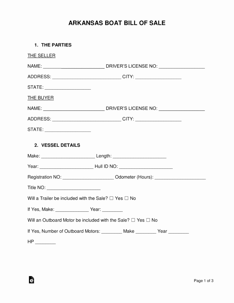 Bill Of Sale Template Boat Elegant Free Arkansas Boat Bill Of Sale form Pdf Word