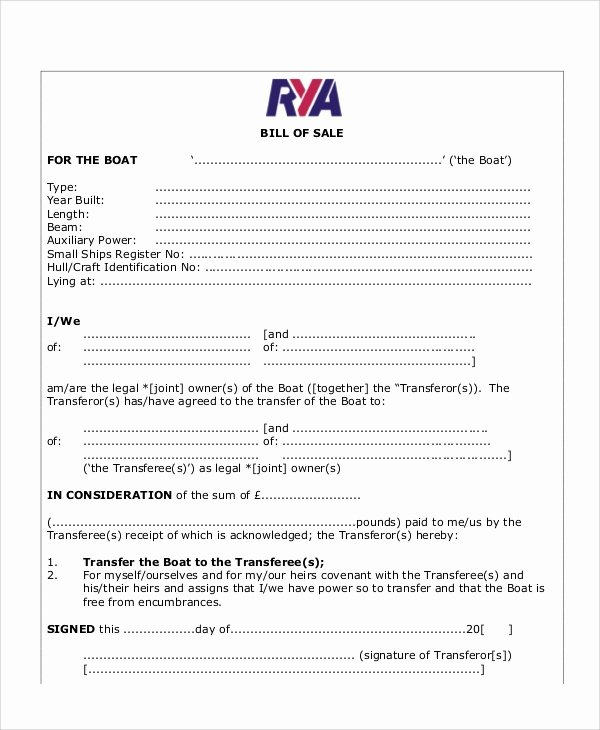 Bill Of Sale Template Boat Fresh Sample Bill Of Sale form In Pdf 12 Examples In Pdf