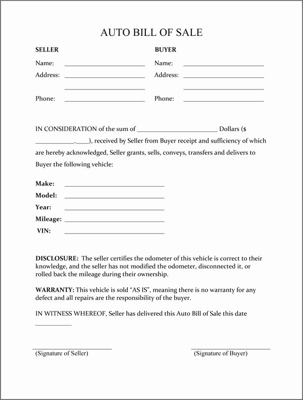 Bill Of Sale Vehicle Awesome Free Printable Free Car Bill Of Sale Template form Generic