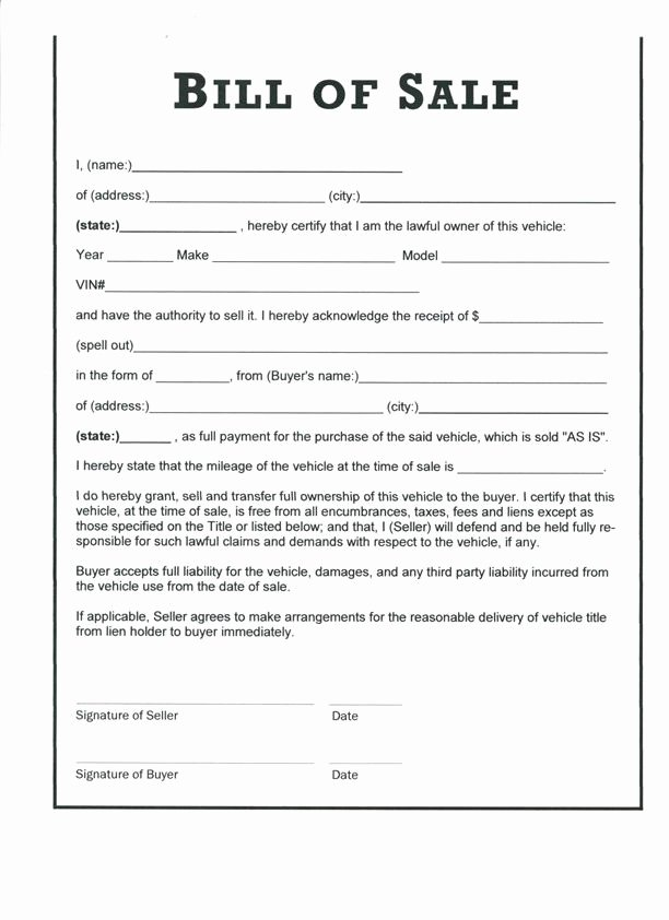 Bill Of Sale Vehicle Beautiful Download Bill Sale forms Pdf Templates