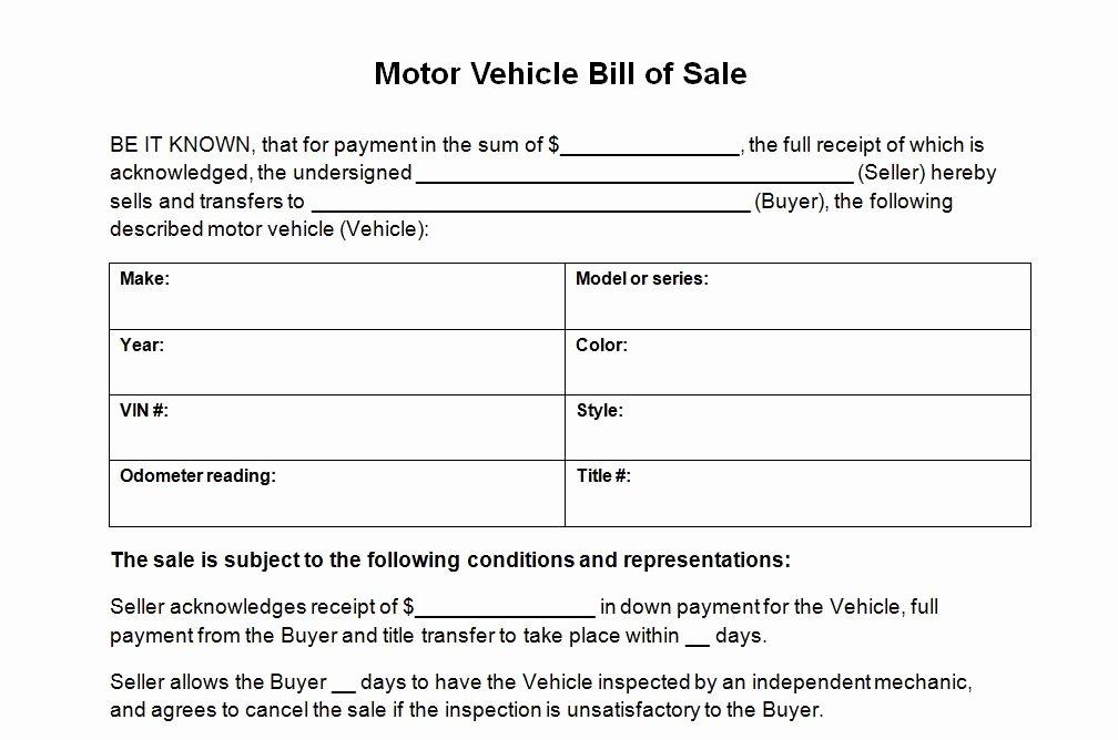 Bill Of Sale Vehicle Beautiful Vehicle Bill Sale Template