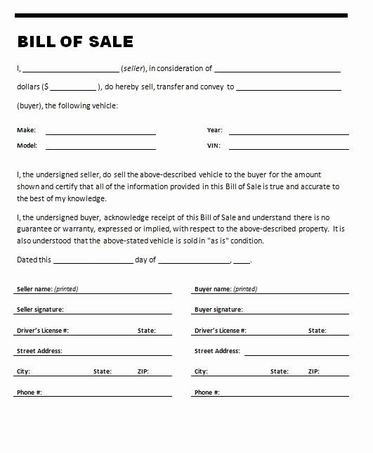 Bill Of Sale Vehicle Fresh Free Printable Car Bill Of Sale form Generic
