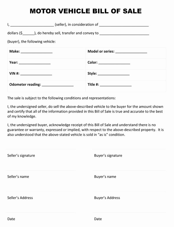 Bill Of Sale Vehicle Fresh Motor Vehicle Bill Sale form