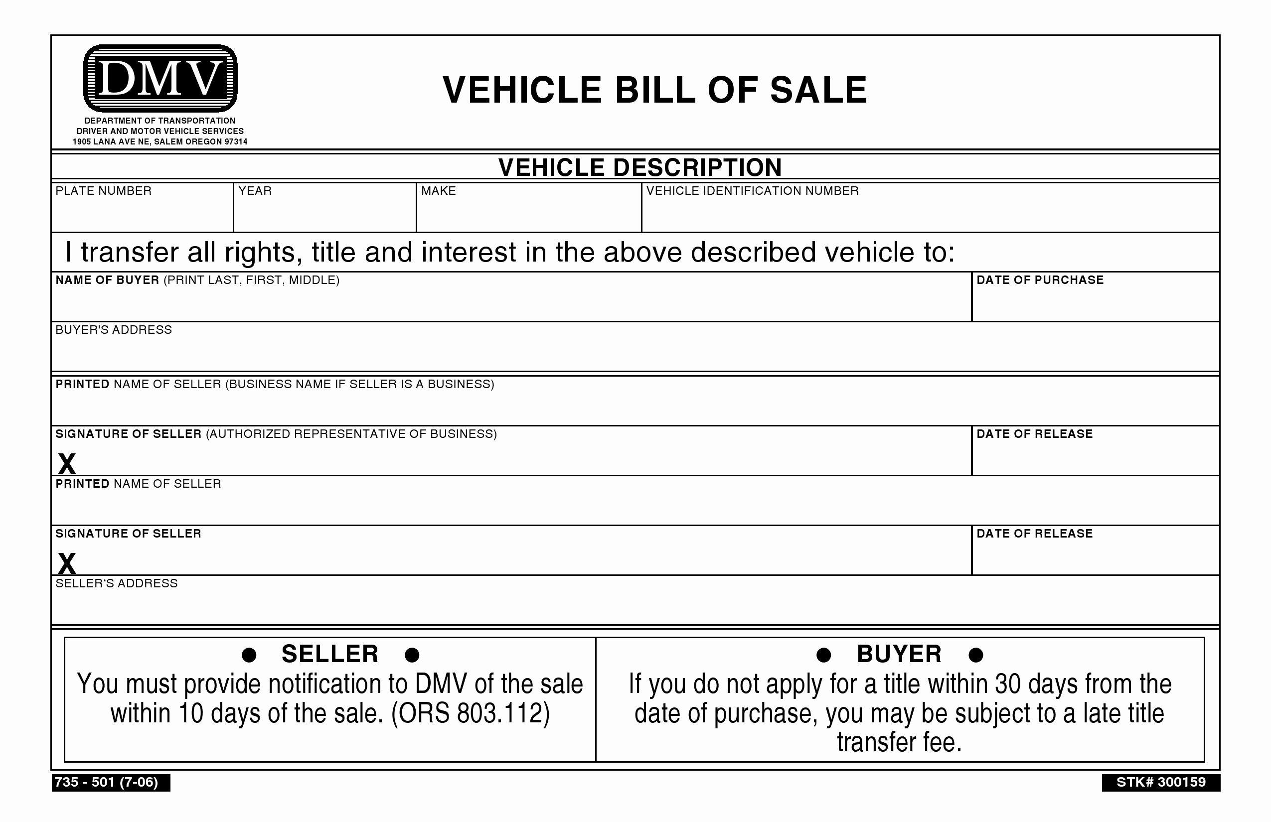 Bill Of Sale Vehicle Inspirational Free oregon Vehicle Bill Of Sale Pdf Word