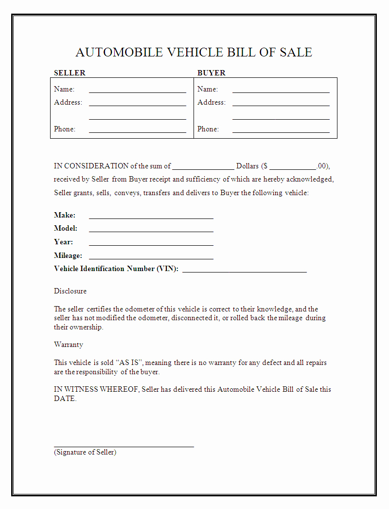 Bill Of Sale Vehicle Inspirational Free Printable Vehicle Bill Of Sale Template form Generic