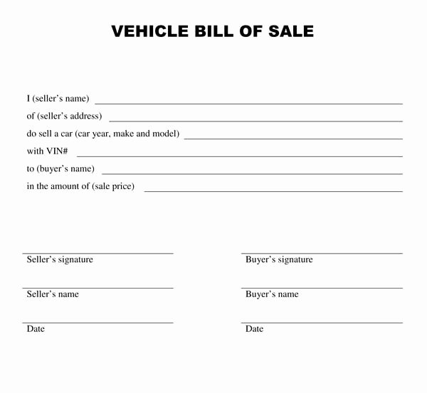 Bill Of Sale Vehicle Inspirational Printable Sample Bill Of Sale Templates form
