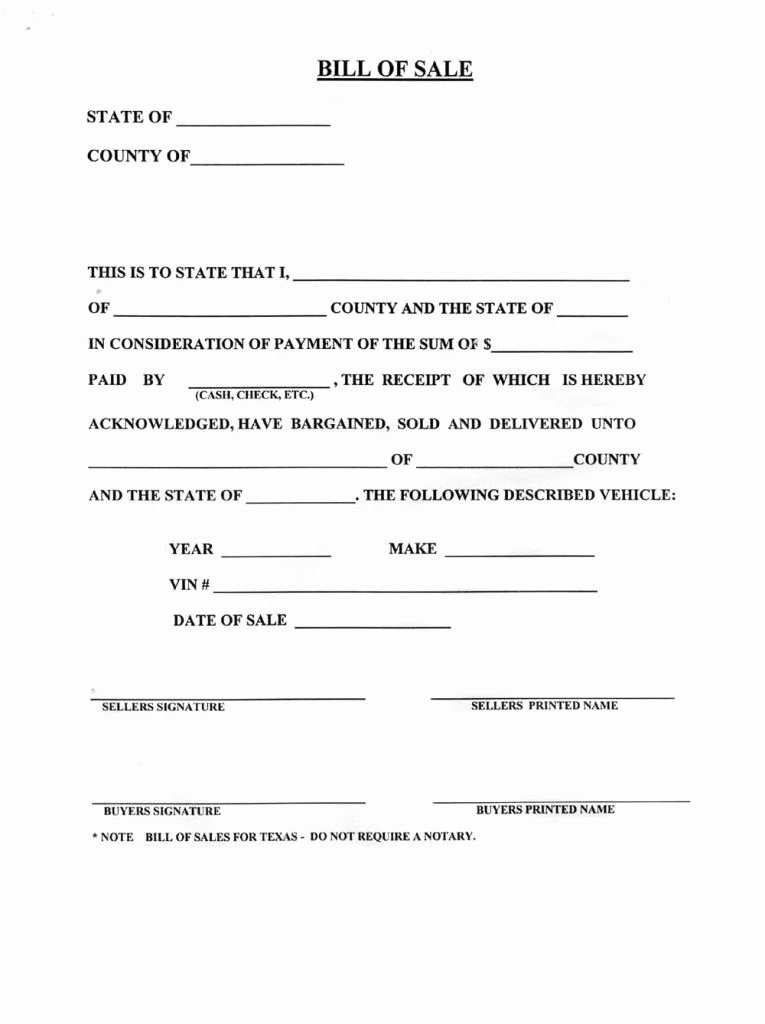 Bill Of Sale Vehicle Luxury Blank Bill Sale for A Car form Download How