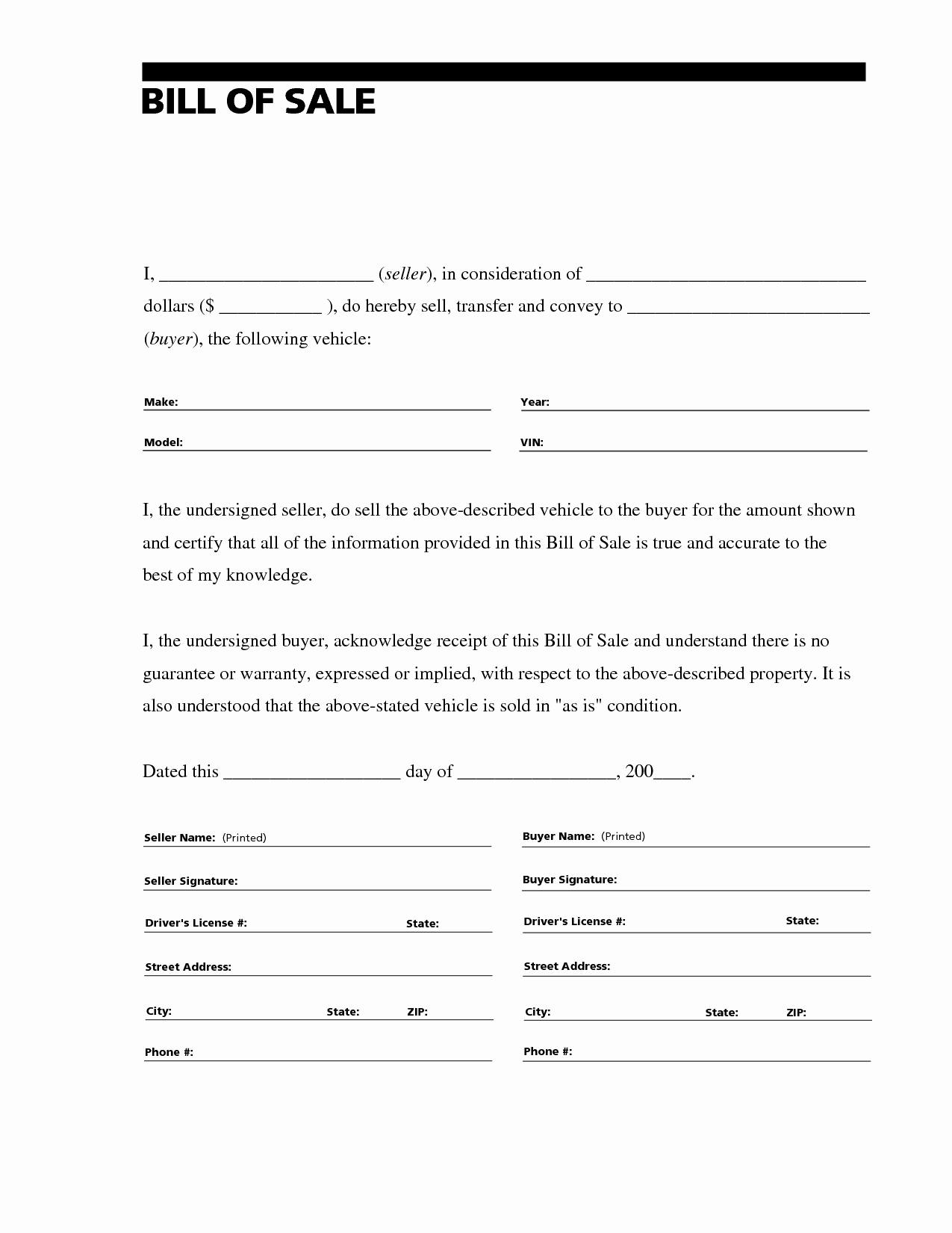 Bill Of Sale Vehicle Unique Free Printable Vehicle Bill Of Sale Template form Generic