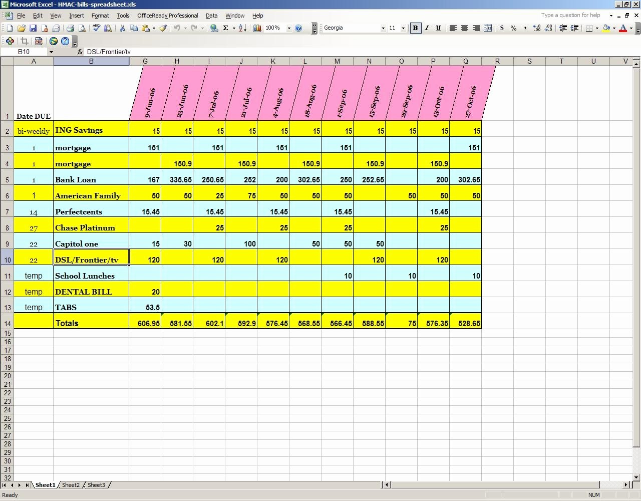 Bill Pay Spreadsheet Template Elegant Excel Spreadsheet for Bill Tracking Spreadsheet Downloa