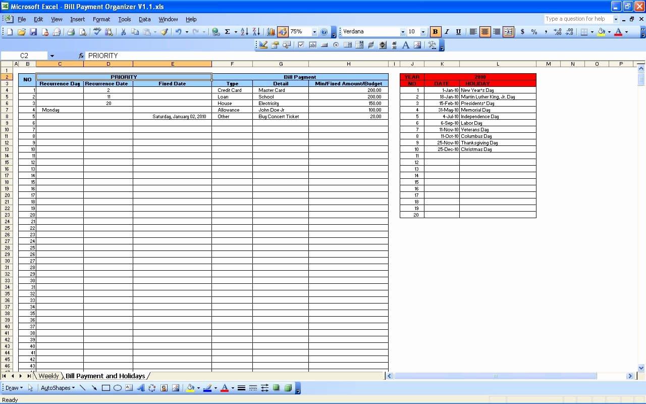 Bill Pay Spreadsheet Template Inspirational Bill Payment Calendar