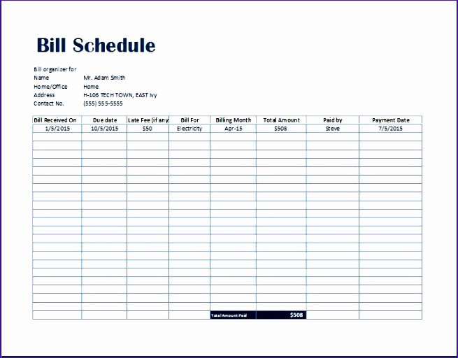 Bill Pay Spreadsheet Template Inspirational Simple Bill Payment organizer with Date Tracker Excel