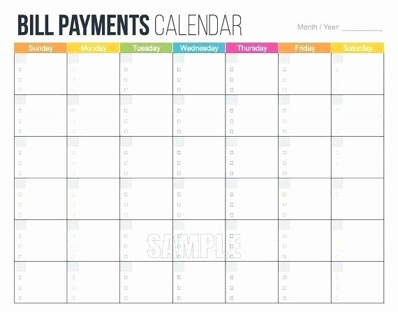 Bill Pay Spreadsheet Template Lovely Blank Monthly Calendar Printable