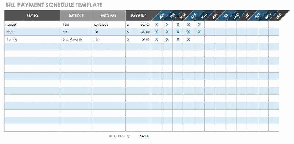Bill Pay Spreadsheet Template Luxury 12 Free Payment Templates