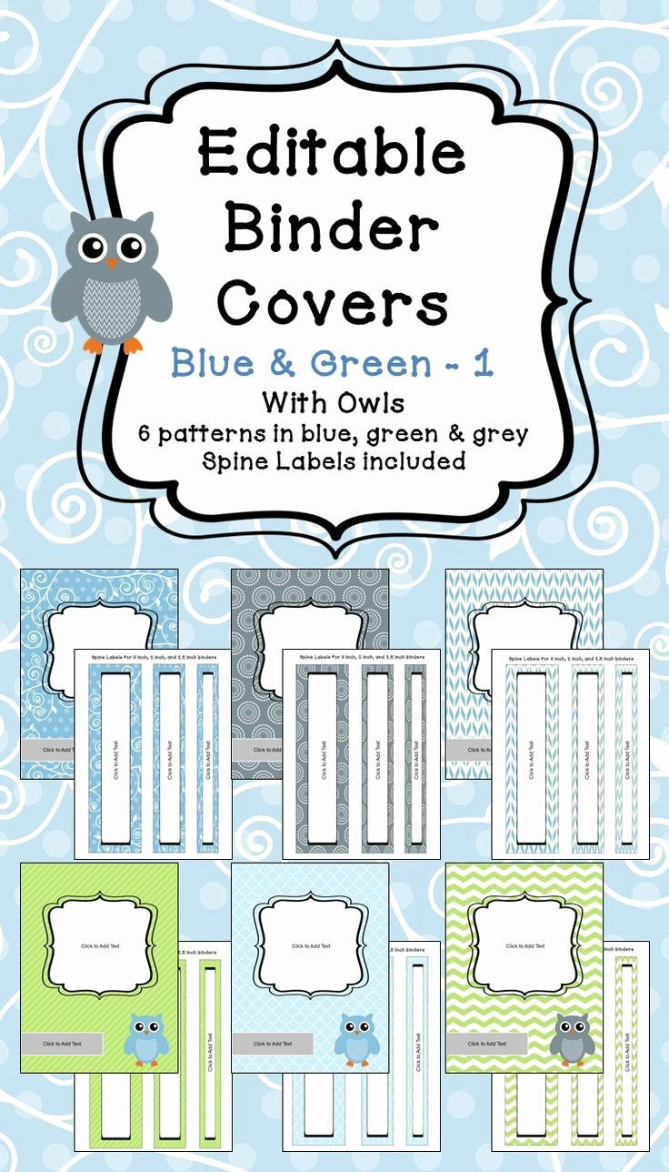 Binder Label Template Free Beautiful Editable Binder Covers & Spines In Blue & Green with Owls