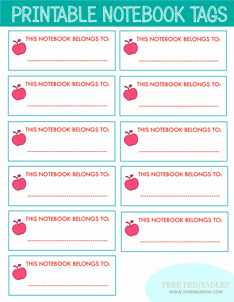 Binder Label Template Free Unique New Project Back to School Notebook and Book Labels