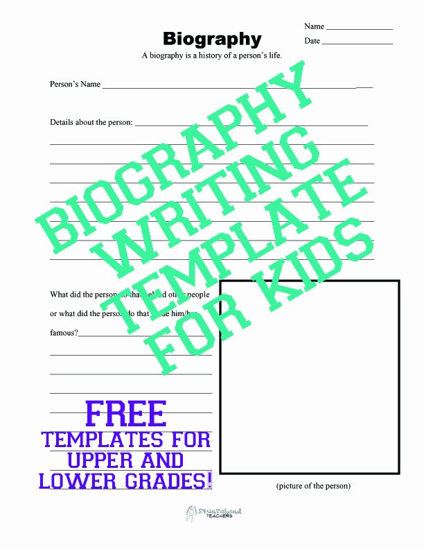 Biography Template for Students Awesome Biography Writing Template for Kids