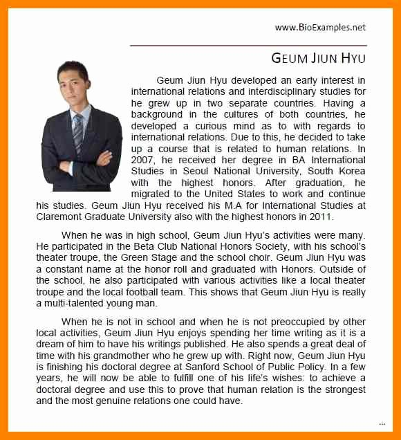 Biography Template for Students Beautiful Biography Examples