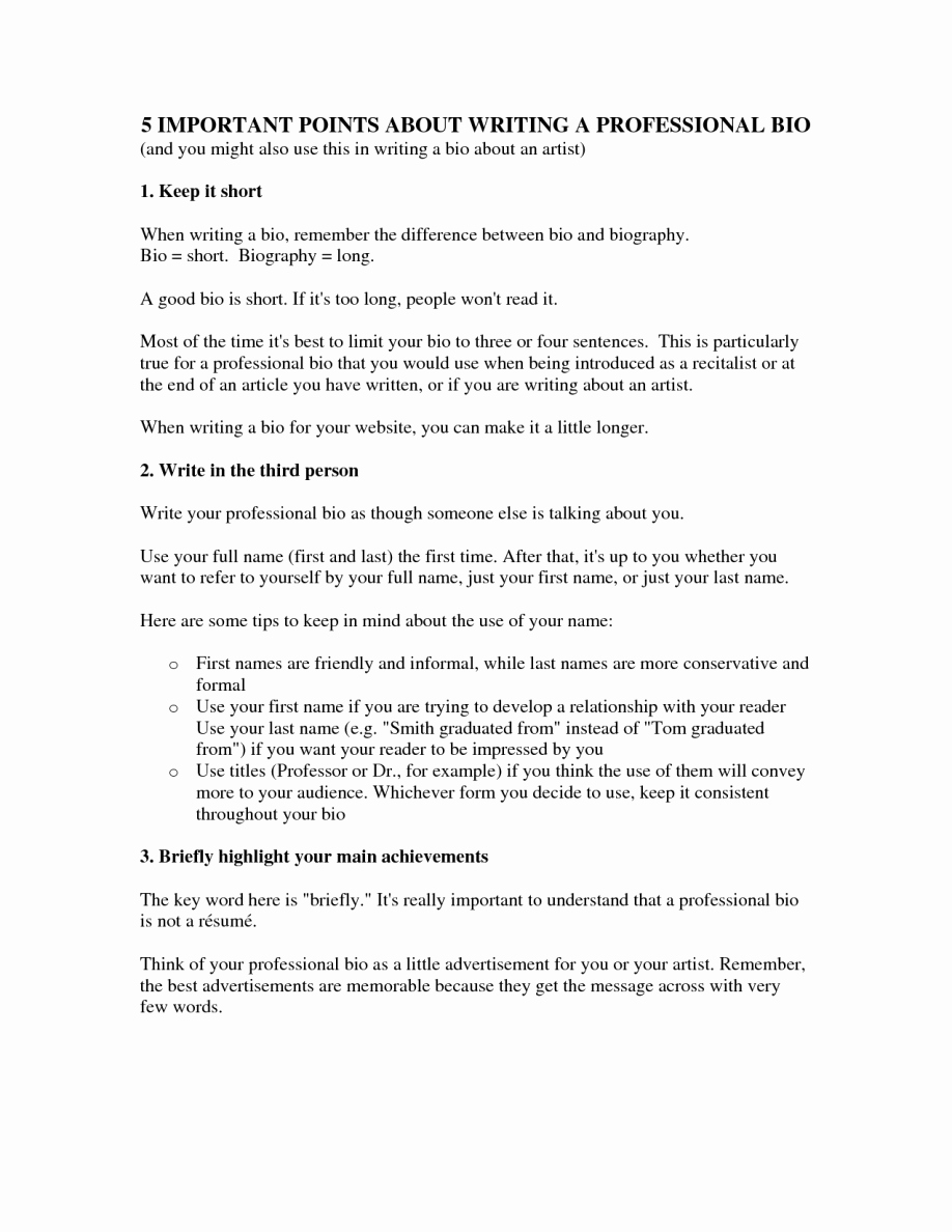 Biography Template for Students Beautiful Professional Biography Template Microsoft Word form Bio