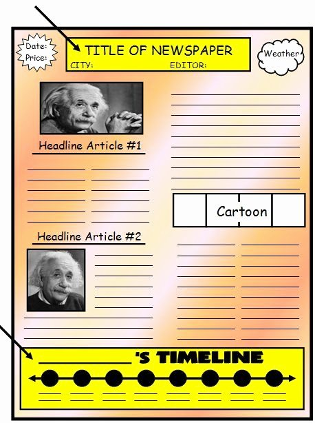 Biography Template for Students Best Of Biography Book Report Newspaper Templates Worksheets
