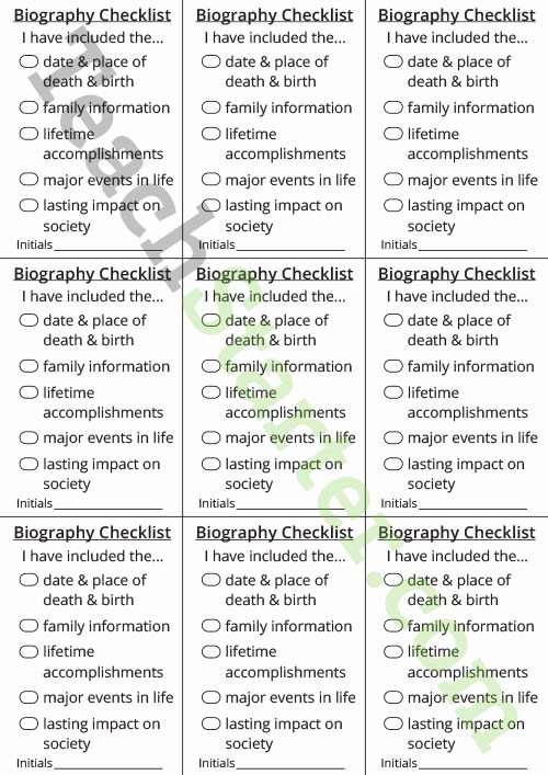 Biography Template for Students Fresh Recount Writing Checklist