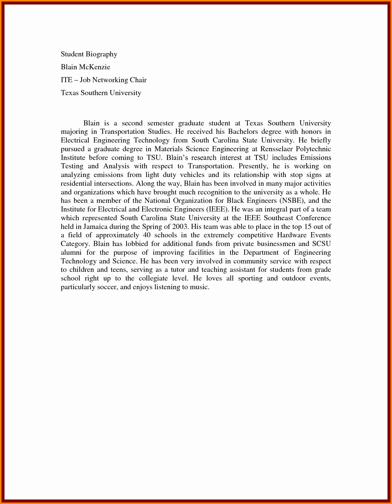 Biography Template for Students Lovely Autobiography Examples for High School Students Filename 4