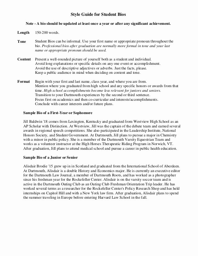 Biography Template for Students Lovely Sample Student Bio Nanny Job