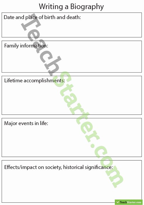 Biography Template for Students Luxury Biography Sentence Starters