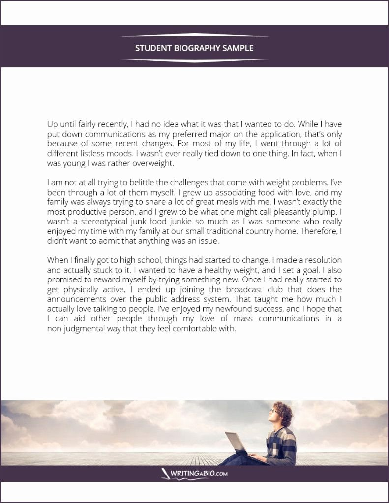 Biography Template for Students New Student Biography Example Bio Examples