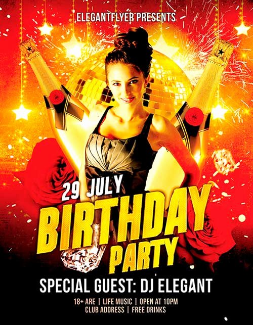 Birthday Flyer Templates Free Awesome Download Free Birthday Party Psd Flyer Template
