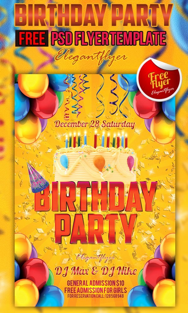 Birthday Flyer Templates Free Elegant 90 Awesome Free Psd Flyer Templates