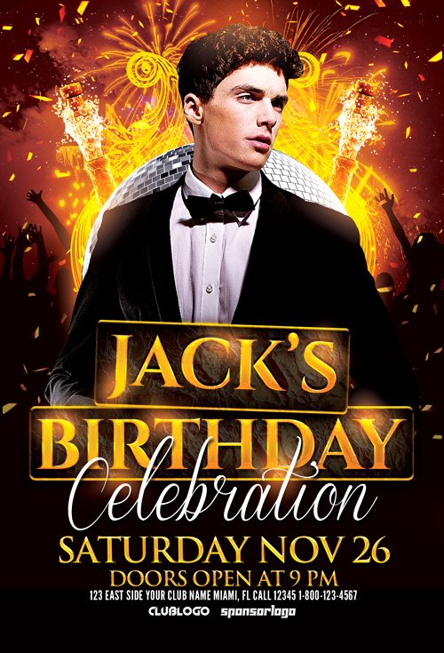 Birthday Flyer Templates Free Elegant Birthday Celebration Flyer Template Birthday Psd Flyer