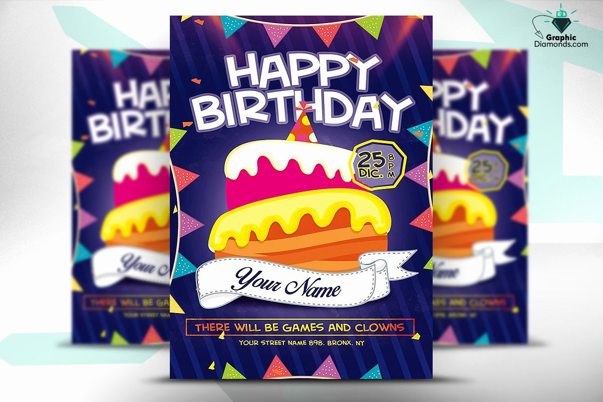 Birthday Flyer Templates Free Fresh Kids Happy Birthday Flyer Psd Flyer Templates Creative