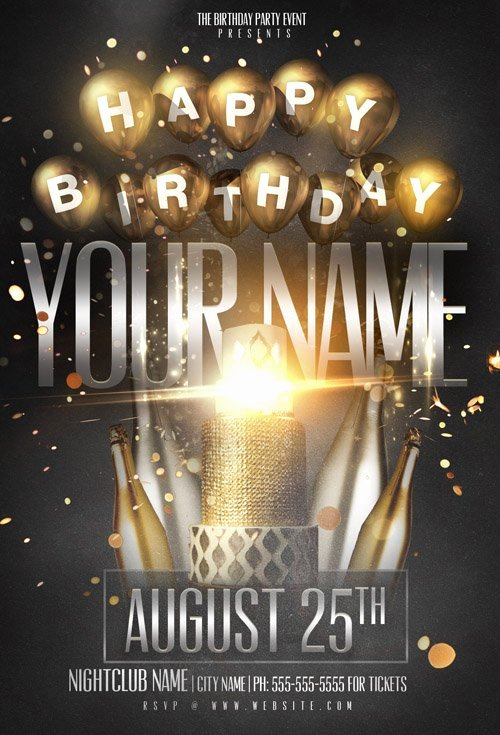 Birthday Flyer Templates Free Lovely Flyer Template Psd Birthday Name Party Nitrogfx