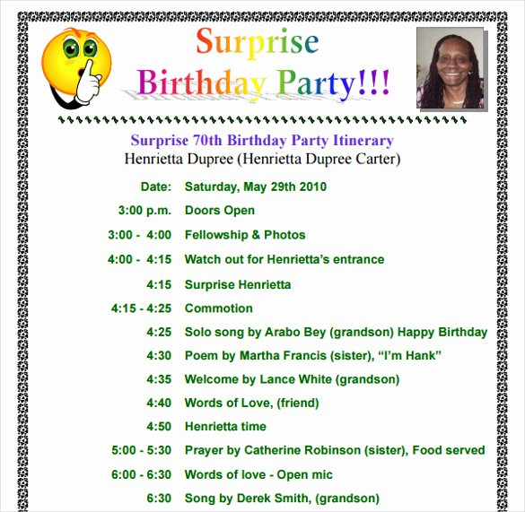 sample birthday itinerary templates