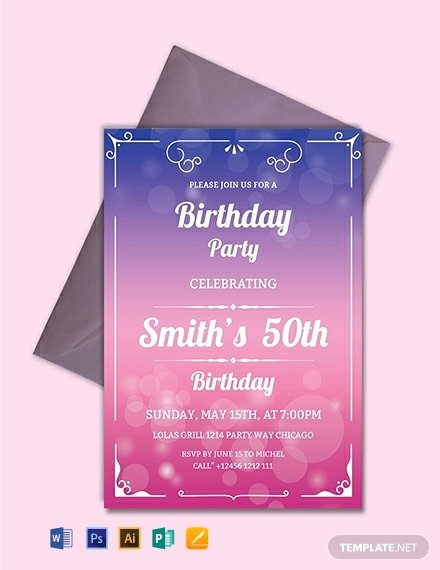 Birthday Party Template Word Inspirational Free 50th Birthday Invitation Template Word