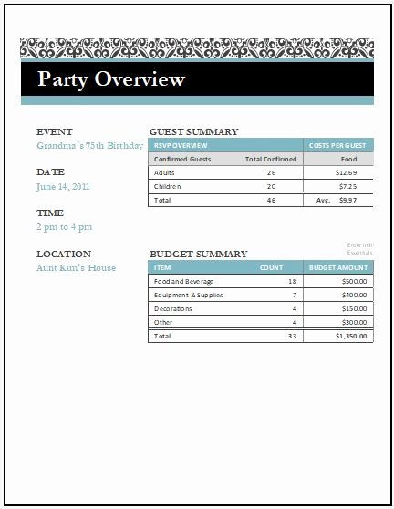 Birthday Party Template Word Lovely Birthday Party Arrangement Checklist for Excel