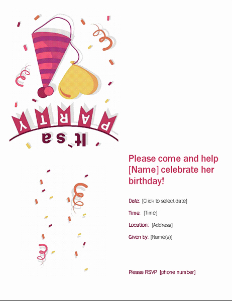 Birthday Party Template Word Lovely Birthday Party Invitation