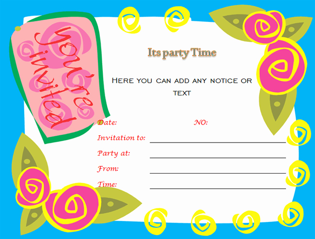 Birthday Party Template Word Lovely Birthday Party Invitations Microsoft Word Templates