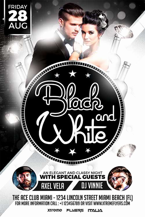 Black and White Flyer Design Fresh Black and White Party Flyer Template Xtremeflyers