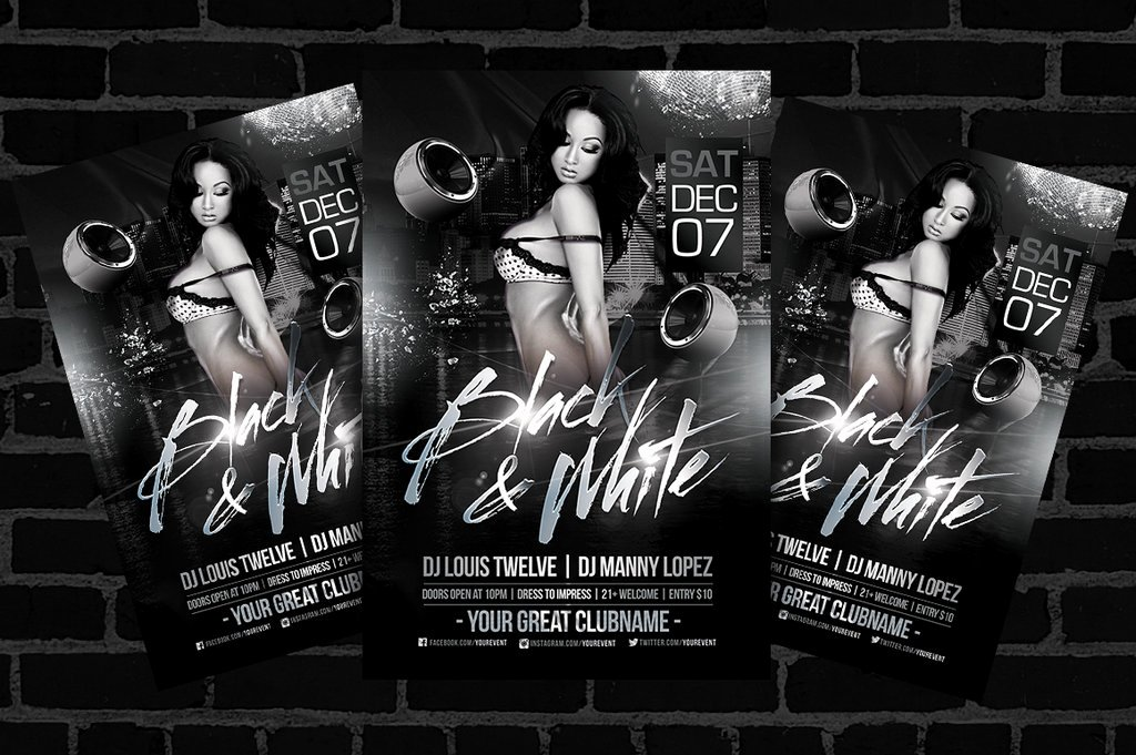 Black and White Flyer Design Inspirational Black and White Flyer Template by Louistwelve Design On