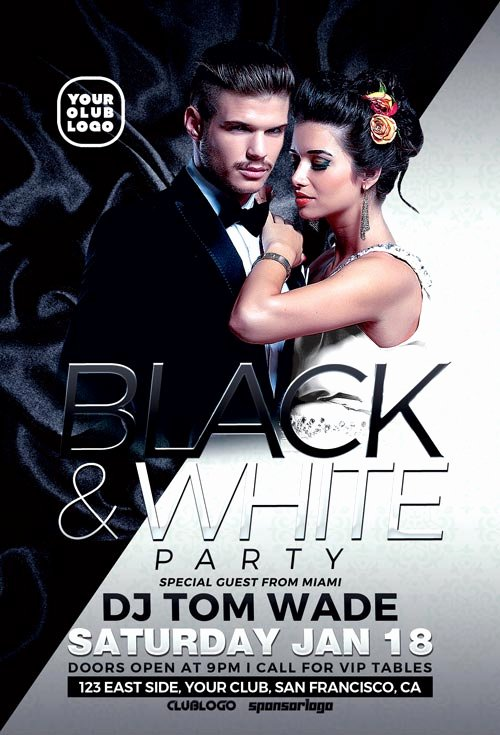 Black and White Flyer Design Luxury Black and White Party Flyer Template Download Psd Flyer