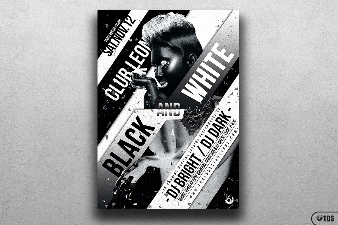 Black and White Flyer Design Luxury Black and White Party Flyer Template