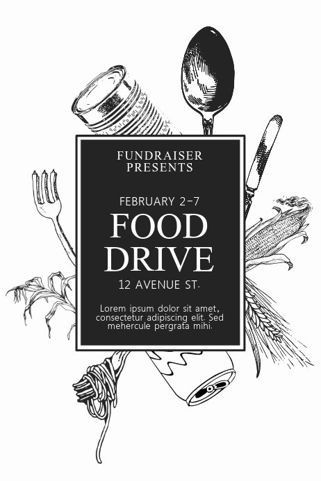 Black and White Flyer Design Luxury Black and White Printable Food Drive Flyer Template