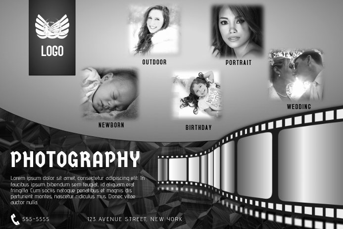Black and White Flyer Design New Black and White Photography Flyer Template Landscape