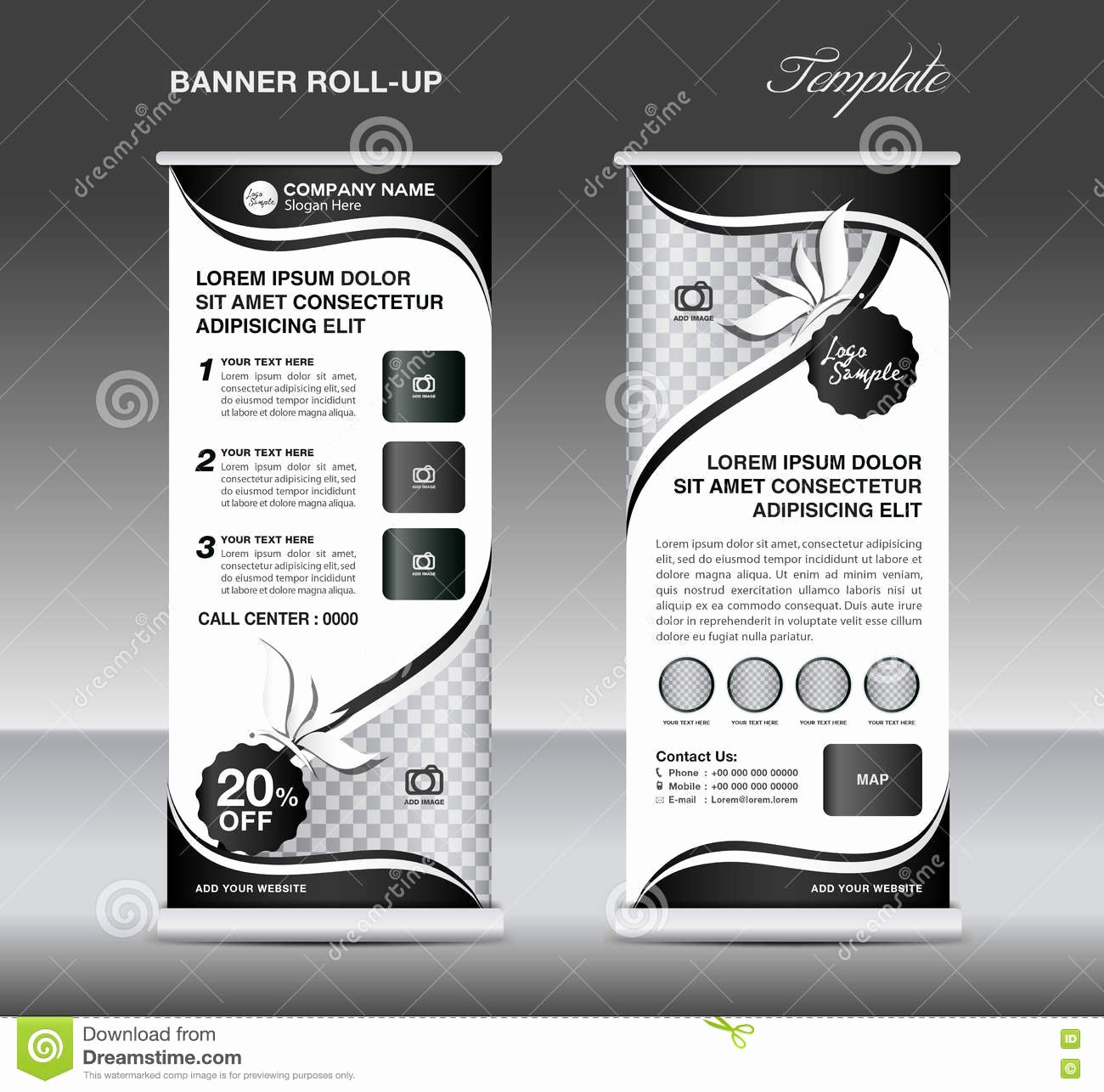 Black and White Flyer Design Unique Black and White Roll Up Banner Stand Template Banner